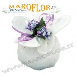 Bomboniere Sacchettino PortaConfetti Glitter Fiore in Organza Bianco x Matrimonio Comunione Sposi