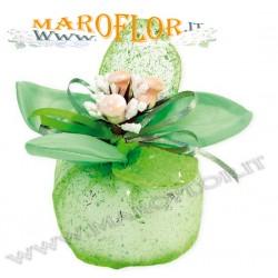 Bomboniere Sacchettino PortaConfetti Glitter Fiore in Organza Verde x Matrimoni Promesse Anniversari Sposi