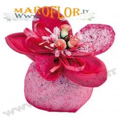 Bomboniere Sacchettino PortaConfetti Glitter Fiore in Organza Fucsia x Matrimonio Compleanno Sposi