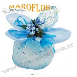 Bomboniere Sacchettino PortaConfetti Glitter Fiore in Organza Celeste Azzurro x Battesimo Nascite Compleanno Sposi