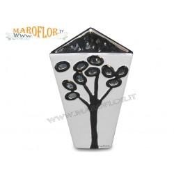Bomboniere Claraluna 14021 Vaso in porcellana bianca con albero argentato traforato