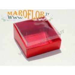 Astucci per Bomboniere base rossa e trasparente 6x6x3cm Laurea Cresima