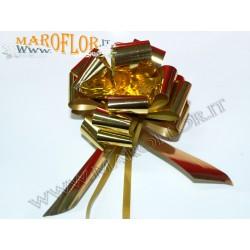50 Coccarde h3cm Nastri Fiocchi Oro metallizzati per Sposi, Auto, Addobbi